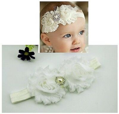 Newborn Baby Girl Christening Shabby Flower White Headband Wedding 0-18mos