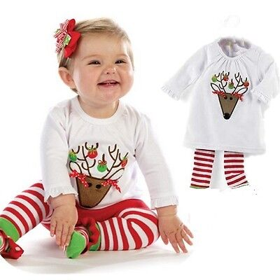 NEW Baby Kids Girls Christmas Reindeer Outfit Tee & Legging 2pc SET Size 0 1 2 3