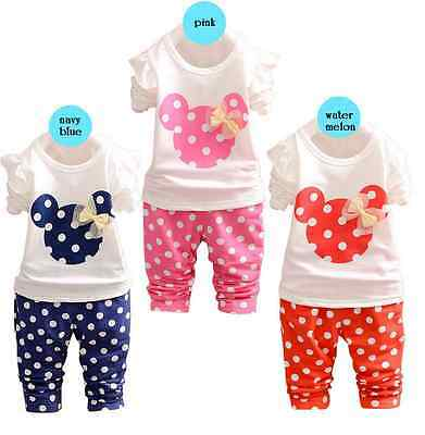 NEW Baby Girl Minnie Mouse Long Sleeve Top T-shirt & Pant SET Size 1/2/3/4/5