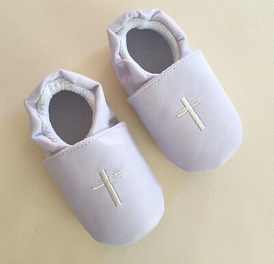Baby Boy Girl White Christening Cross Formal Wedding Shoes 0-12m Size 2/3/4