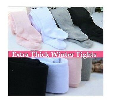 NEW Kids Girls Extra Thick WINTER Sock Tights *3-12yrs* Pink White Black Grey