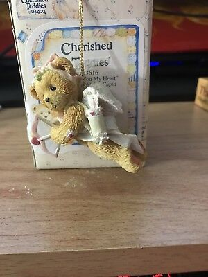 """Mint Condition Cherished Teddies-""""Sending You my Heart"""" Cupid Hanging Ornament"""