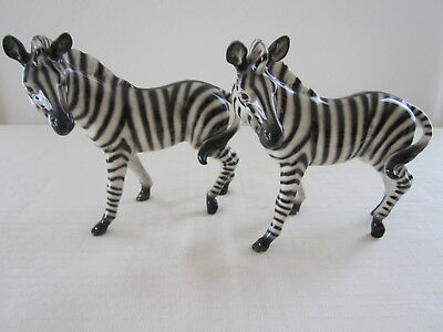 Vintage 2 PORCELAIN ZEBRAS Made In GERMANY STUNNING PAIR!  RARE!