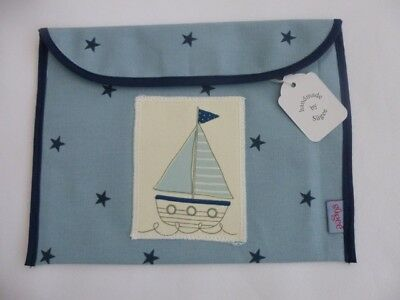 Handmade Baby Health Red Record Book Holder - Blue Star with Boat Applique - BNW