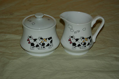 Inspiration Fine Porcelaine Made in Canada Cream and Sugar Set Cow Print