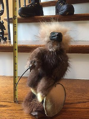 Older, Signed, fur Inuit Doll with hunting/religious accessories, Unique