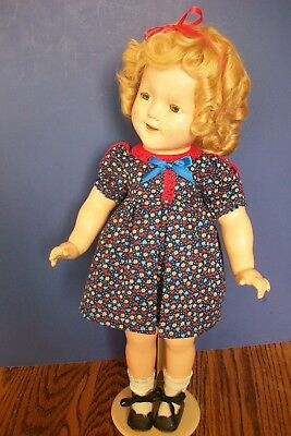 """Dark Blue LOOP dress with tiny flowers for 18""""  compo Shirley Temple Doll"""