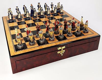 "Pirates vs Royal Navy Chess Set w/ 17"" Gloss Walnut & Maple Color STORAGE BOARD"