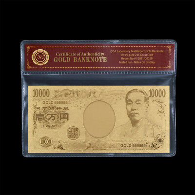 WR Gold Japan 10000 Yen Banknote Nippon Ginko Note Lucky Item Collectible Crafts