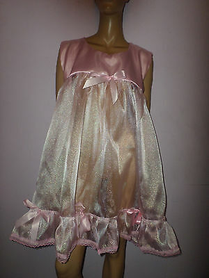"Pink Organza Satin Top Petticoat 42"" Chest Frilly Hem Bows"