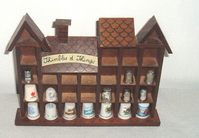 15 Vintage Porcelain Silverplate & Stainless Thimbles With Wood Rack