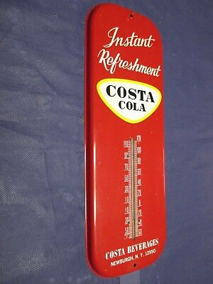 Vintage COSTA COLA Thermometer Metal Sign WOW!~Very Nice Colors~SUPER RARE~Wow!