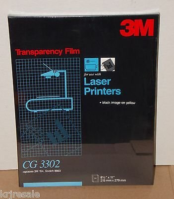 "3M Sealed Box Of 50 8.5""x11"" CG 3302 Transparency Film Black Image On Yellow"