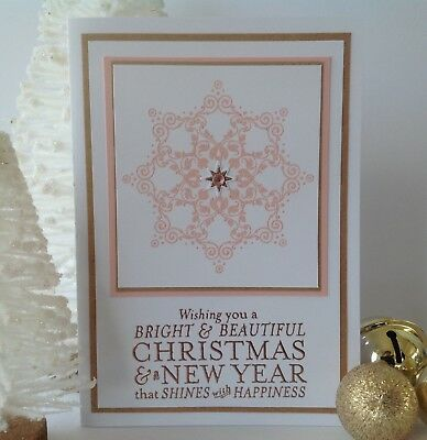 Handmade Christmas card; Deluxe star - pink & rose gold.