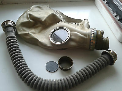 Vintage 1965 USSR Soviet Russian Military Gas Mask ShM-41 Grey Rubber Hose