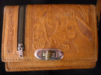 RARE MEXICAN VINTAGE HAND TOOLED LEATHER PURSE/WALLET with HORSE MOTIF! COOL!!