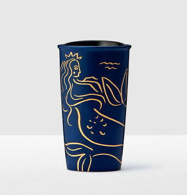 Starbucks Navy Blue Gold Mermaid Anniversary 2017 NEW Mug Cup Siren Coffee Travl