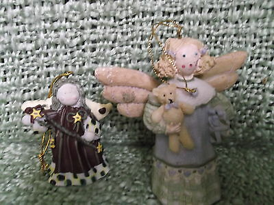 "Lot of 2 Folk Art repro Christmas Angel ornaments  -  larger is  4.5"" x 4"""