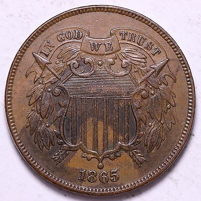 AU+ 1865 2 Cent Piece R5TMM