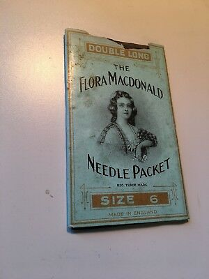 Vintage paper sewing needles in package flora mcdonald packet size 6 nr as is