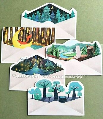 """""""island Letters"""" Set,  Envelop Shaped Postcards Post Cards 5/pk, Tales Of Forest"""