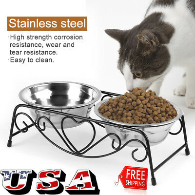 Stainless Steel Puppy Dog Feeding Food Water Double Dish Bowl for Pet Dogs Cat