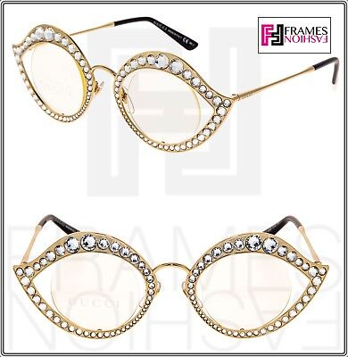 GUCCI CRYSTAL LIPS Sunglasses 4287 Cat Eye Gold Metal Frame RX Glasses 0046