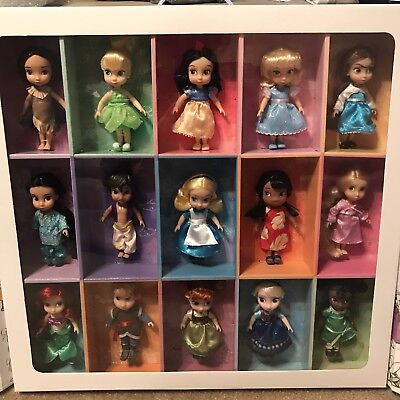 """Disney Store ANIMATORS Collection 5"""" MINI DOLL GIFT SET of 15-New in Display Box"""
