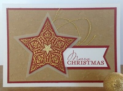 Handmade Christmas card;  Merry star in cherry red.