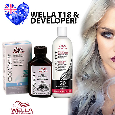 Wella T18 Colour Charm Hair Toner PLUS Developer - T18 Lightest Ash Blonde!