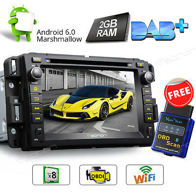 """7"""" Car GPS Navigation Octa Core Android 6.0 WIFI for Chevrolet GMC Buick +OBD2 W"""