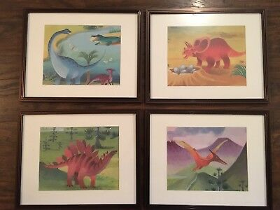 4 Pottery Barn Dinosaur Picture Prints And Frames- Wall Decor Dino Boys