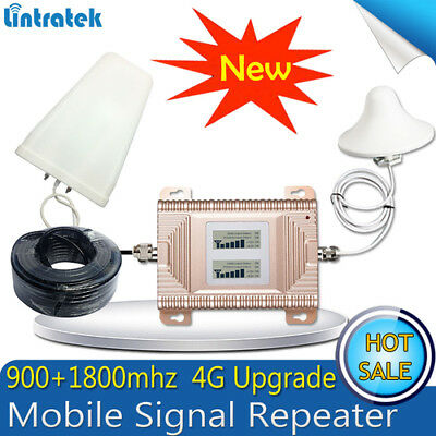 1 Set LTE 4G GSM 2G 900/1800MHz 70dB dual band signal booster repeater antenna