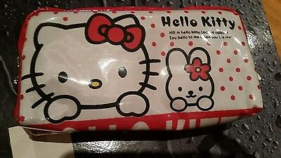 Hello Kitty Makeup Bag Pencil Case White & Red - FREE SHIPPING