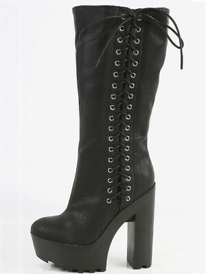 New Side Lace Up Mid Calf Knee High Boot Chunky Platform Heel Combat Gothic Punk