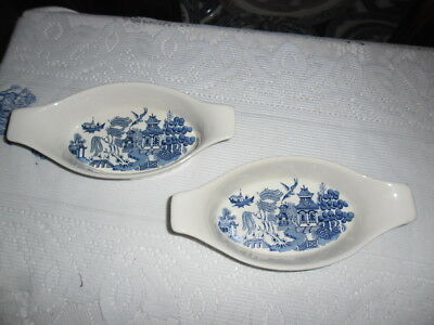 Blue Willow Boat Shaped Ramikins X 2