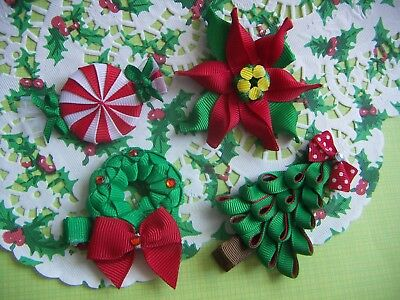 Christmas Sculpture Hair Bow Clips Santa Candy Tree or Wreaths Poinsettia Flower