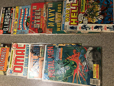 Lot of 9 WAR Comics Sarge Steel, OMAC,Navy Heroes, Metal Men, Hell, BlitzKrieg