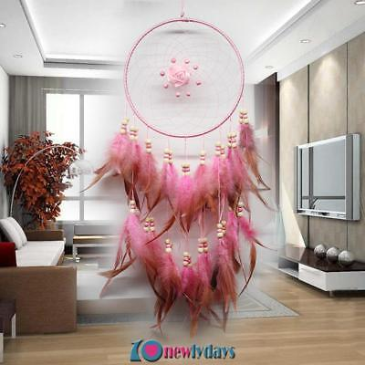 23.6'' Pink Roses Dream Catcher Handmade Feathers Wall Car Hanging Decoration