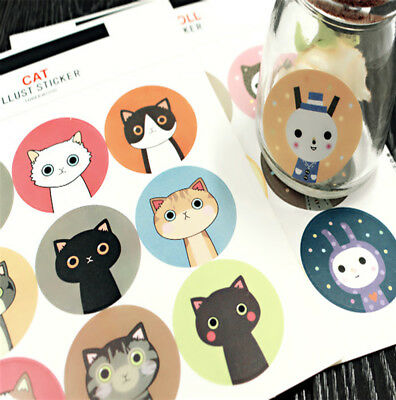 1 sheet cute Cat Rabbit Stickers Diary Notebook Decal Bake Packing Sealed Decor