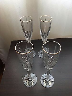 Mikasa Apollo Gold Crystal Champagne Flutes Clear Gold x 4