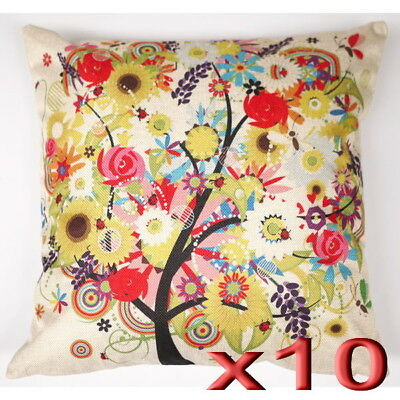 10pc Wholesale Cotton Linen Tree of Life Print Square Pillow Case Cushion Cover