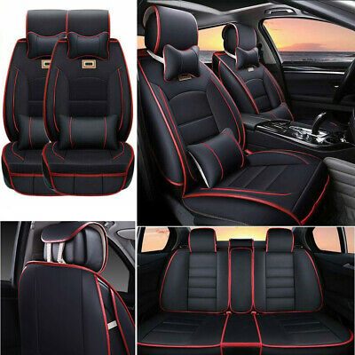 AU Car Seat Cover Full Set PU Leather+Ice Silk 5 Seats Front+Rear Pillow 4Season