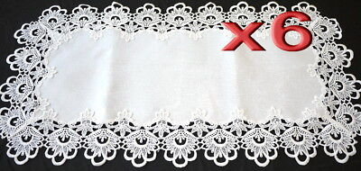 6pc Wholesale Handmade Lace Table Runner Vintage White Wedding 42x85cm