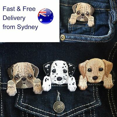 Dog iron on patch Choice Dalmatian Pug Labrador Kelpie puppy embroidery patches
