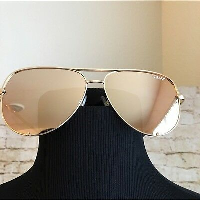 "Quay Australia X Desi Perkins ""high Key"" Gold / Gold Mirror Sunglasses Brand New"