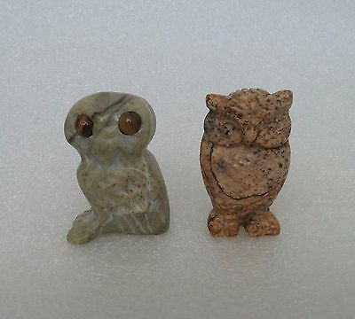 Lot of Two Carved Owl Bird Miniature Figurines
