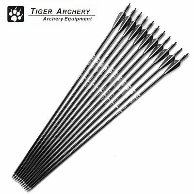 12pcs Fiberglass Hunting Arrows Archery Spine With Black White Feather For Bow A
