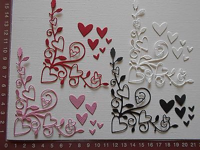 Die cuts - Heart Flourish, Corner, Birthday, Wedding, Valentine's x 4