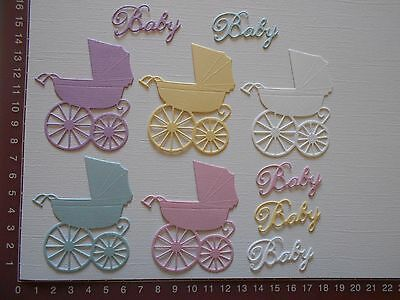 Scrapbooking  Die Cuts - Prams, Baby Words x 5  Embellishments Card toppers